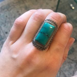 Statement sterling silver & genuine turquoise ring